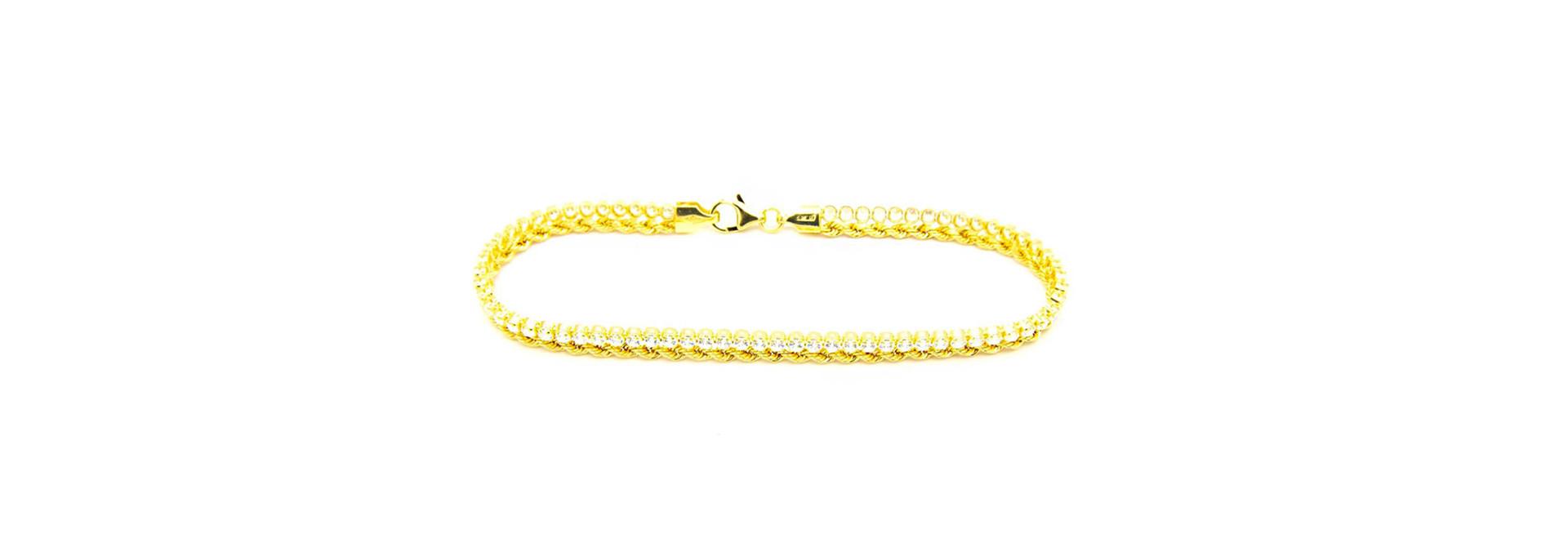 Armband 1 rope chain en 1 zirkonia rij