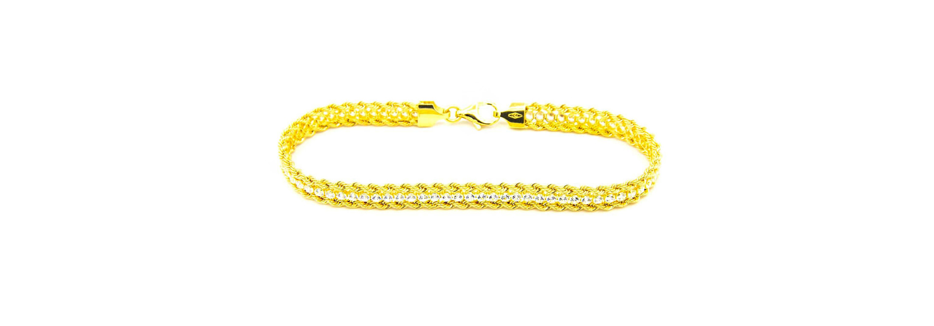 Armband dubbele rope chain met zirkonia's ertussen