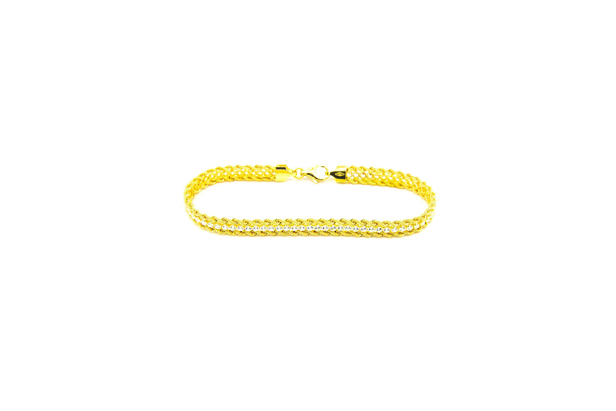 Armband dubbele rope chain met zirkonia's ertussen-1