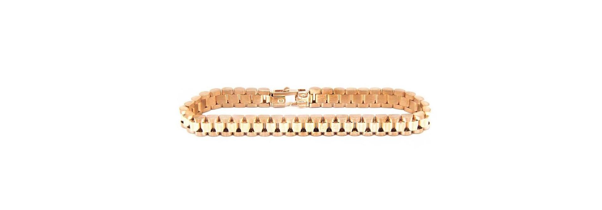 Armband flexibele rolexschakel rosegoud