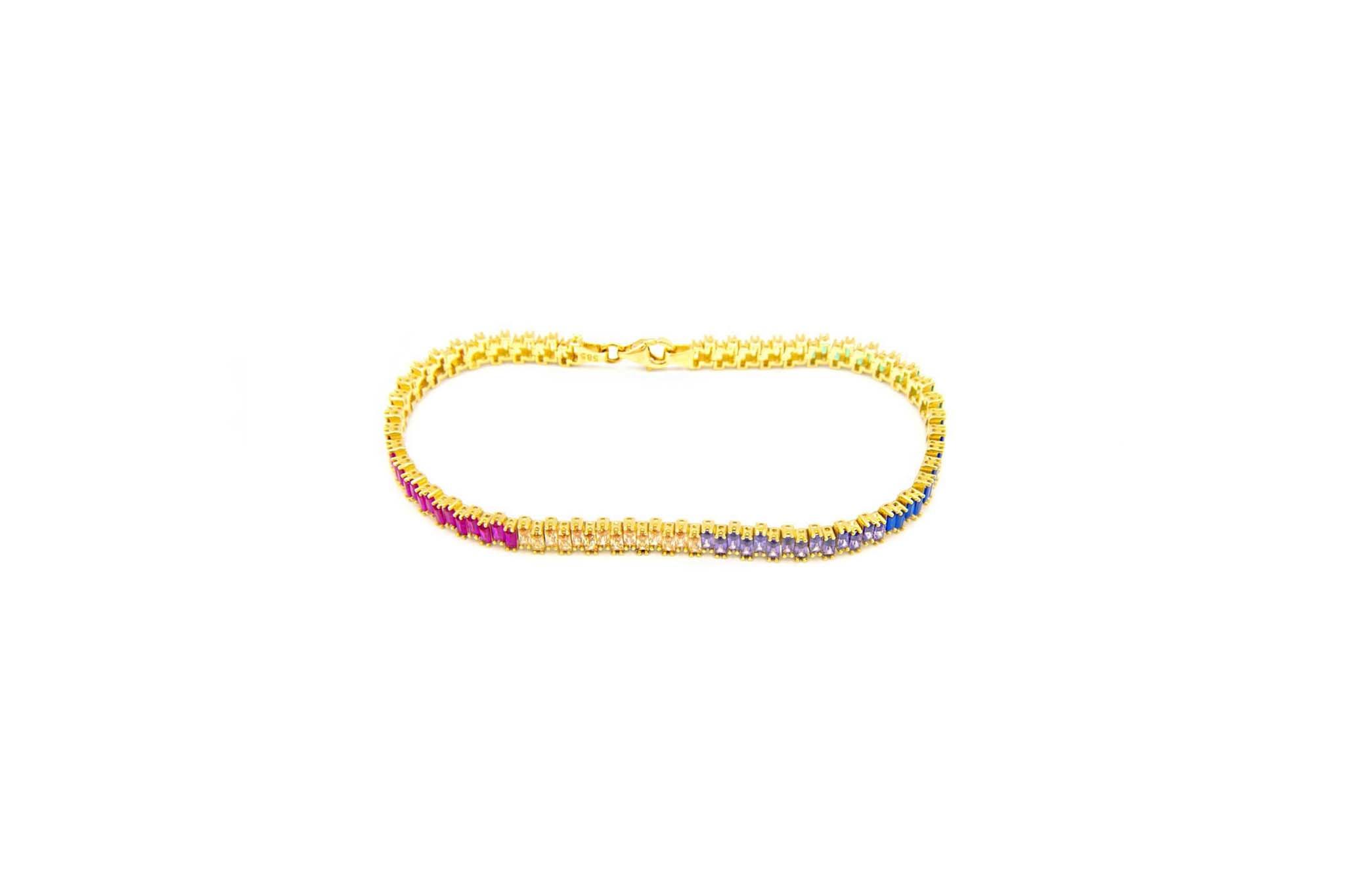 Armband tennisband bezet met rainbow zirkonia's  om en om-2