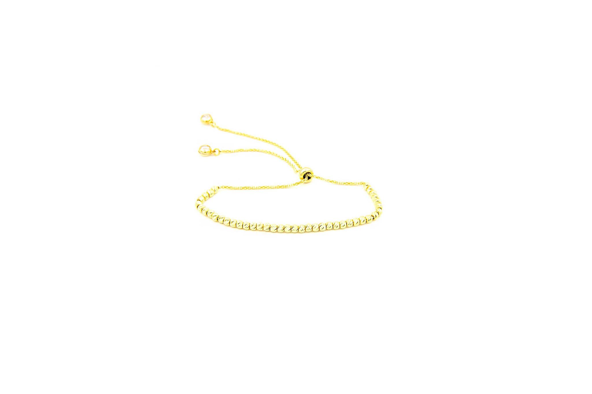 Armband met diamond cut balletjes en zirkonia's-1