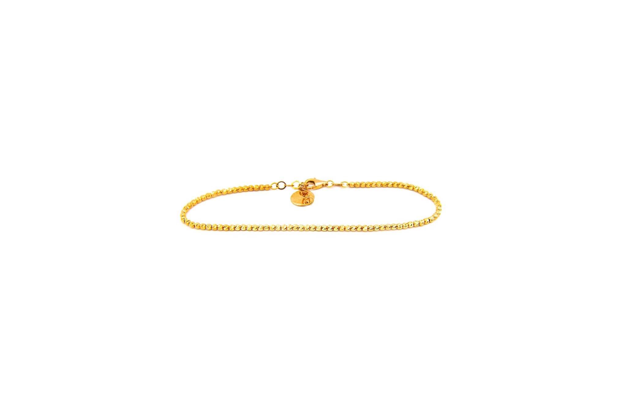 Armband diamond cut balletjes met hangertje cirkel rose-1