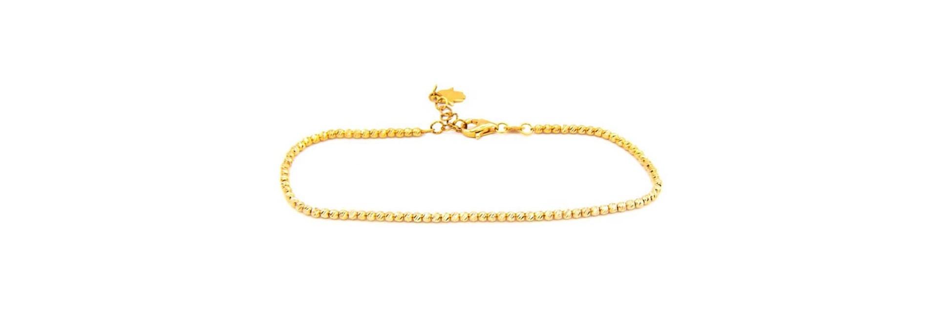Armband diamond cut balletjes met hangertje handje rose