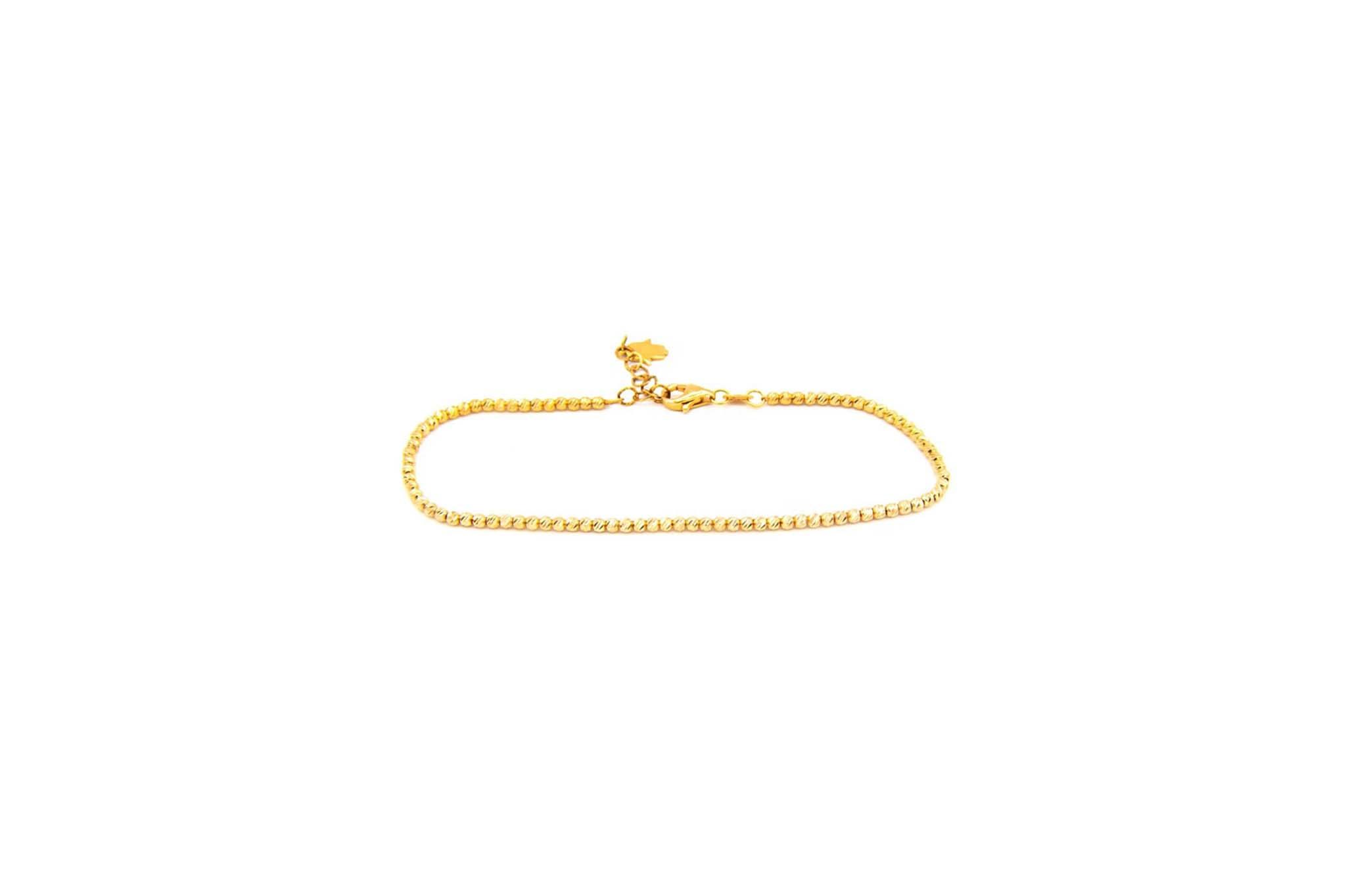 Armband diamond cut balletjes met hangertje handje rose-1
