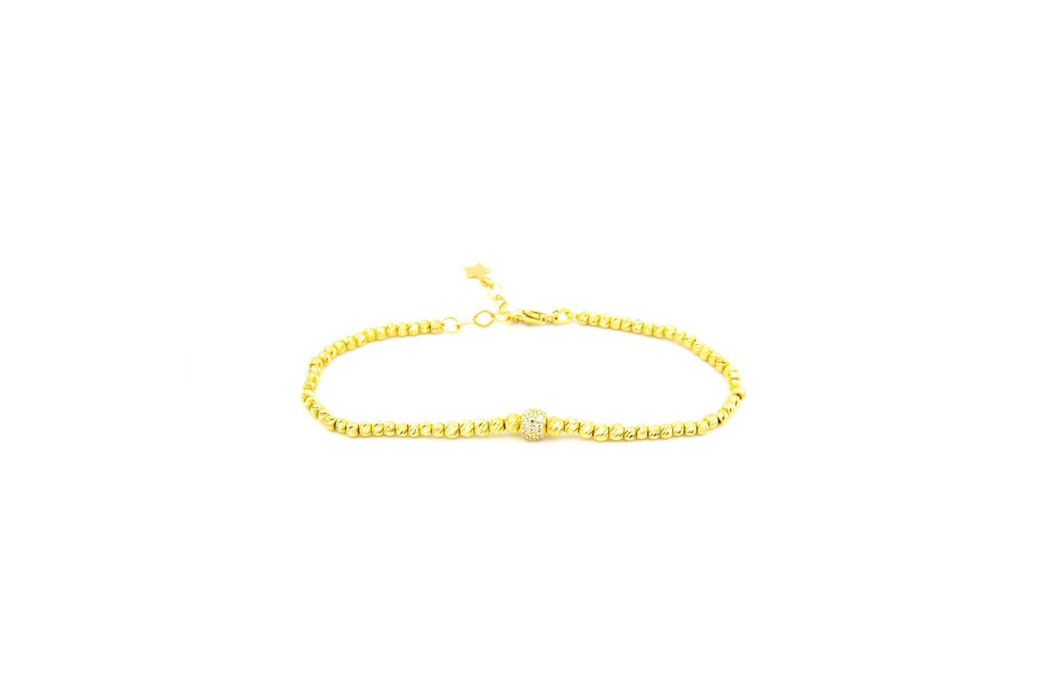 Armband diamond cut balletjes en balletje met zirkonia's-1