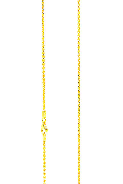 Rope chain cubic massief goud 2mm