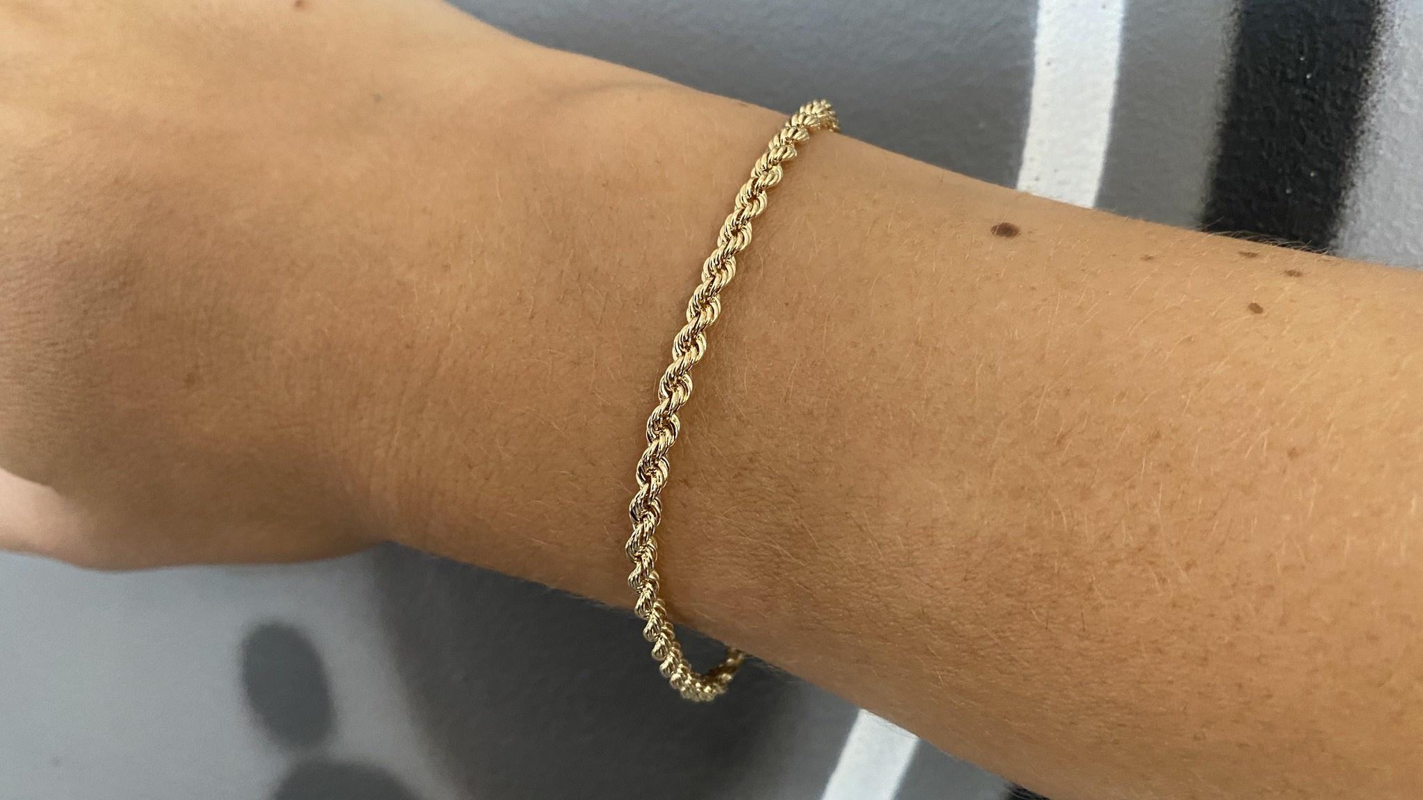 Rope armband Nederlands goud 18 kt 3mm-4