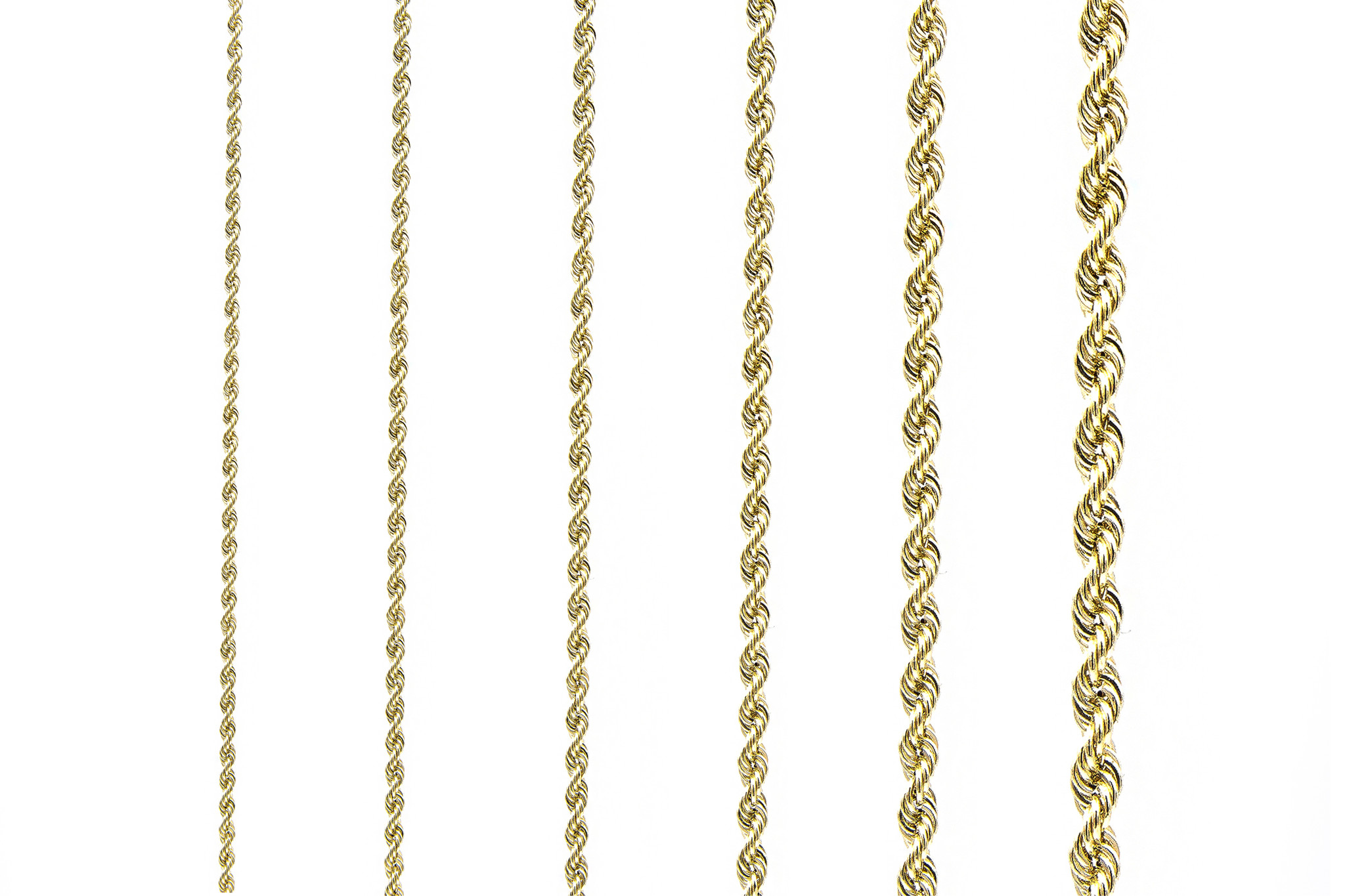 Rope chain witgoud 14kt 3mm-4