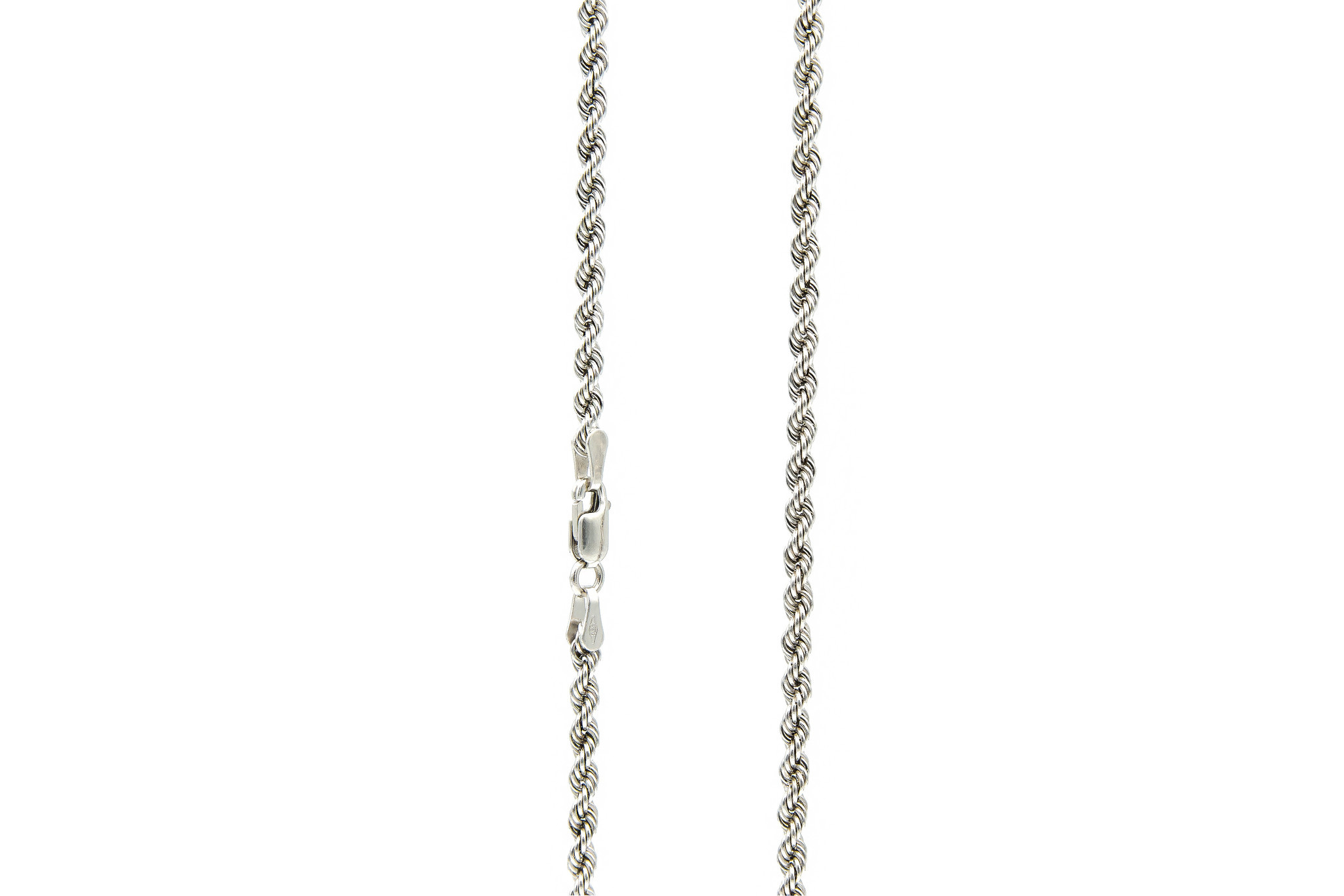 Rope chain witgoud 14kt 3mm-5