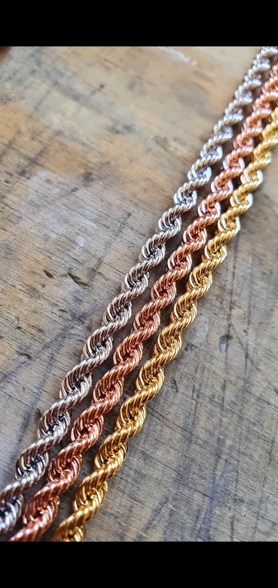 Rope chain roségoud 14kt 2mm-2