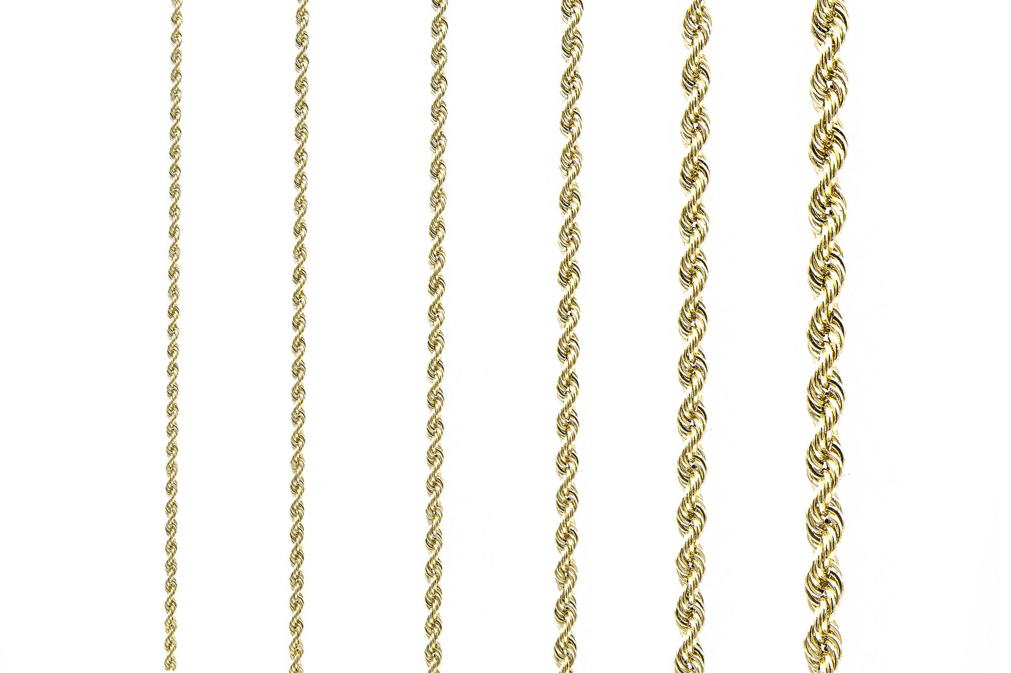 Rope chain roségoud 14kt 3mm-4