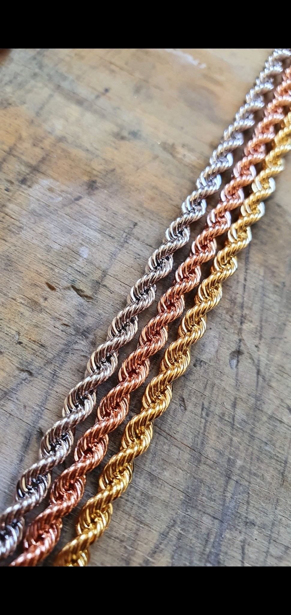 Rope chain roségoud 14kt 3mm-3