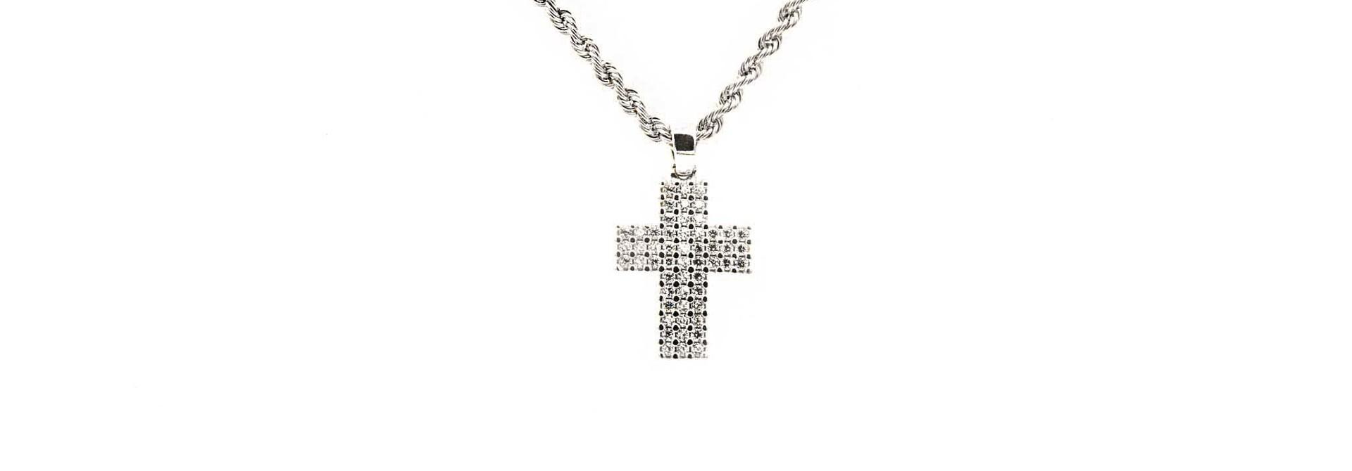 Hanger witgoud kruisje