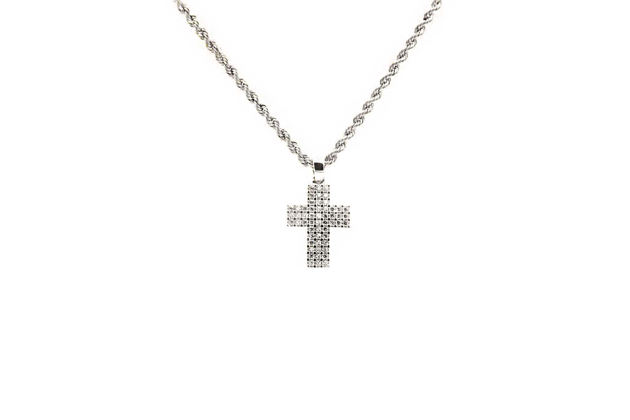 Hanger witgoud kruisje-1