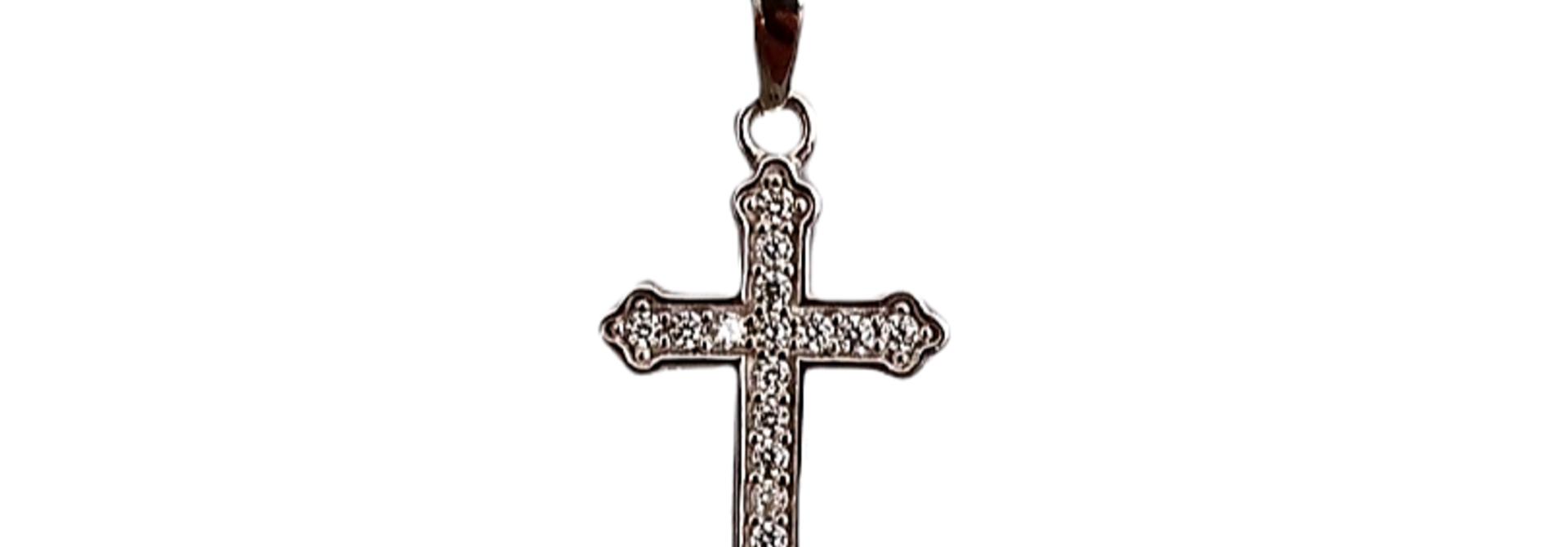 Hanger witgouden kruis bezet met zirkonia's