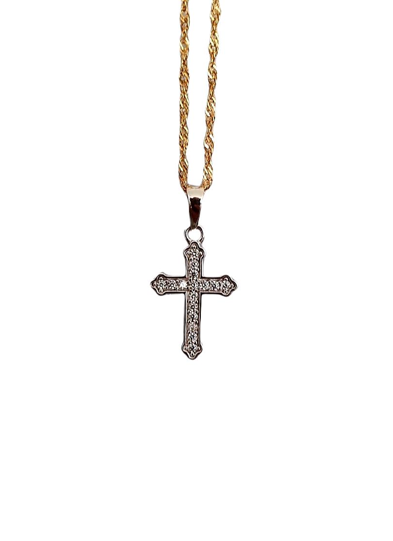 Hanger witgouden kruis bezet met zirkonia's-1