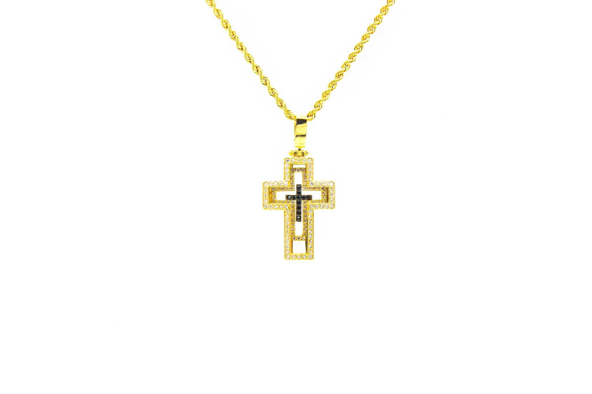 Hanger kruis bezet met zwarte en witte zirkonia's-1