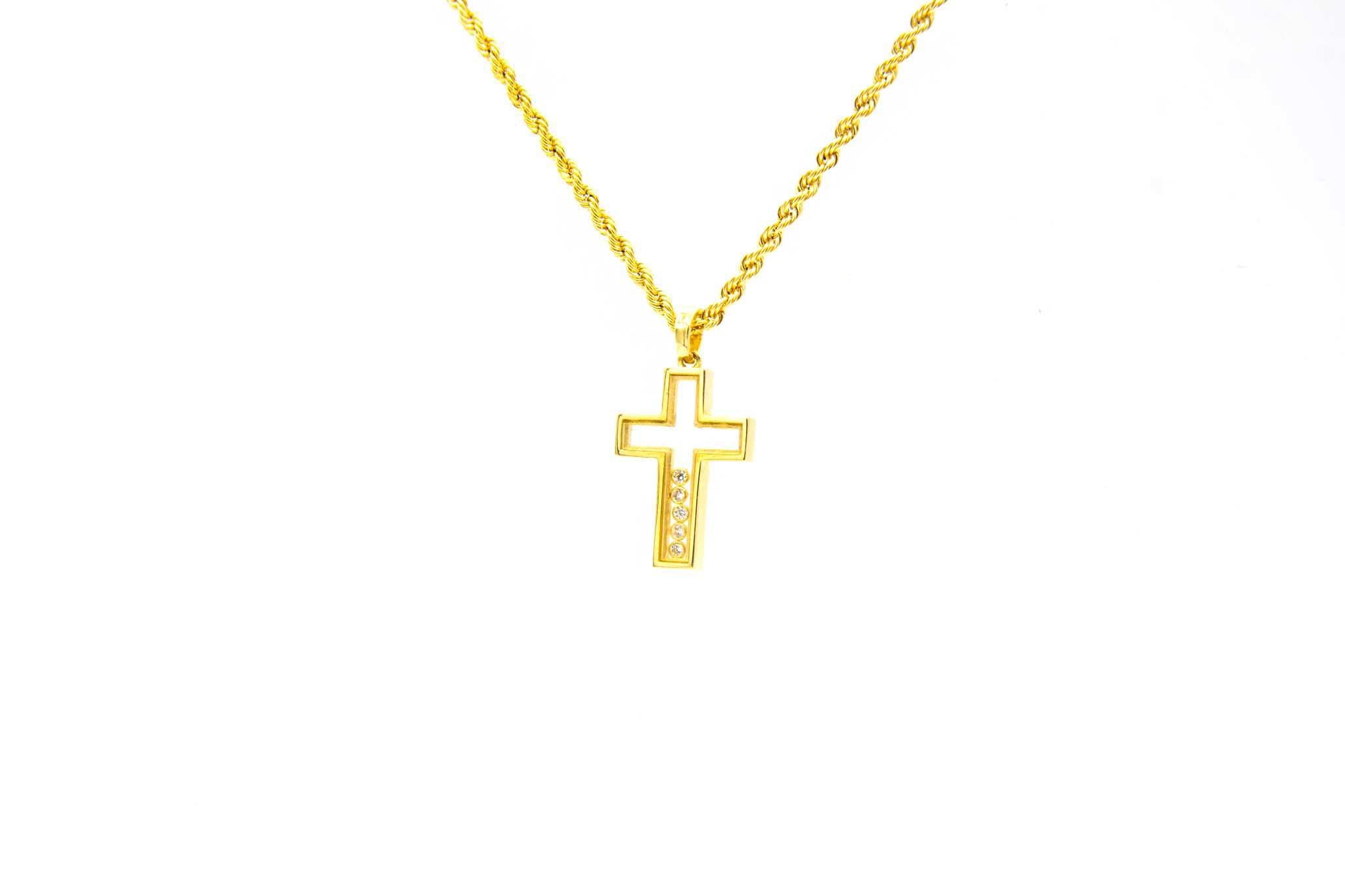 Hanger kruis doorzichtig met verschuivende zirkonia's-1