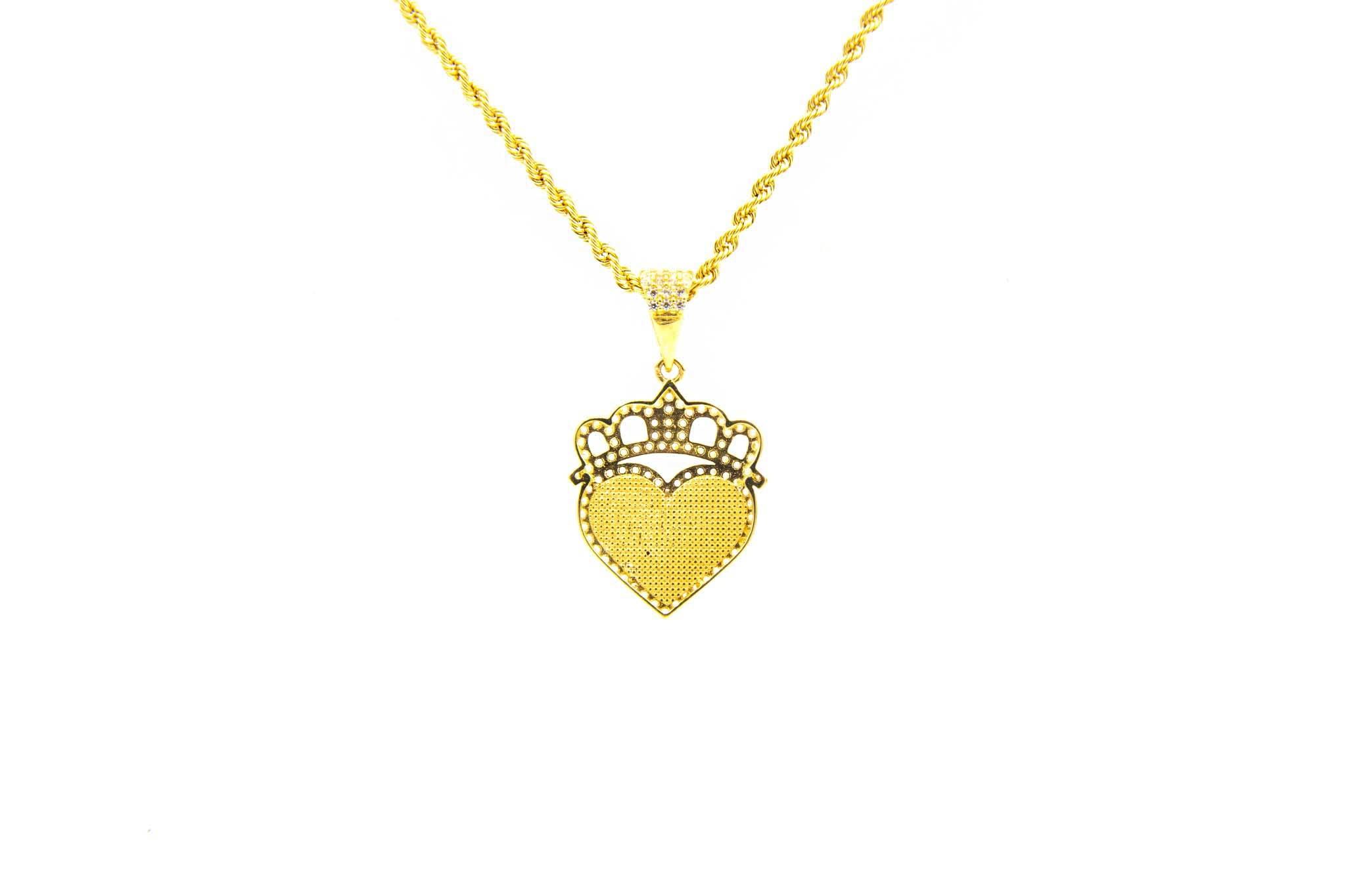 Hanger hartje met kroon omlijst met zirkonia's-2