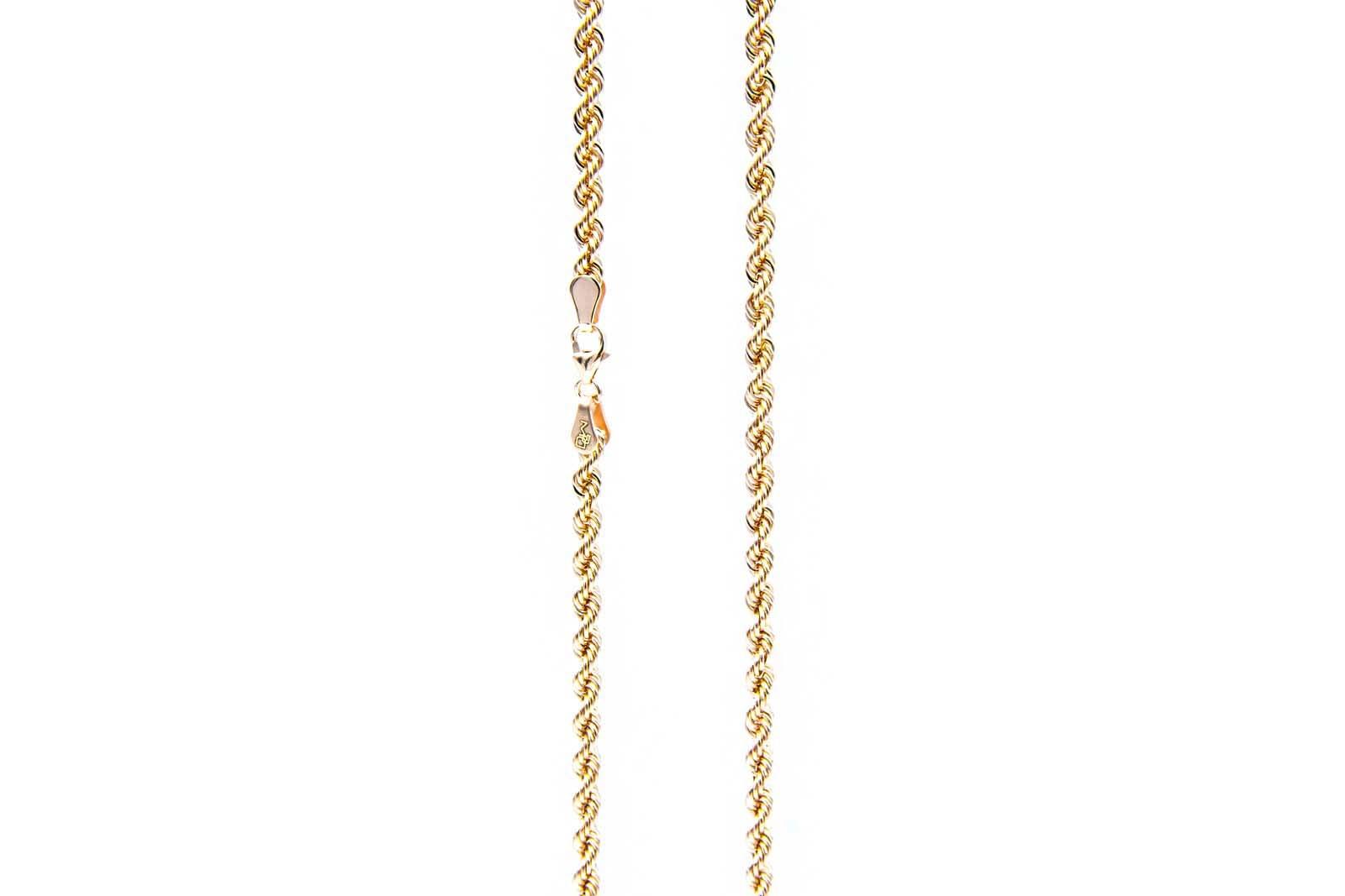 Rope chain roségoud 14kt 3mm-5