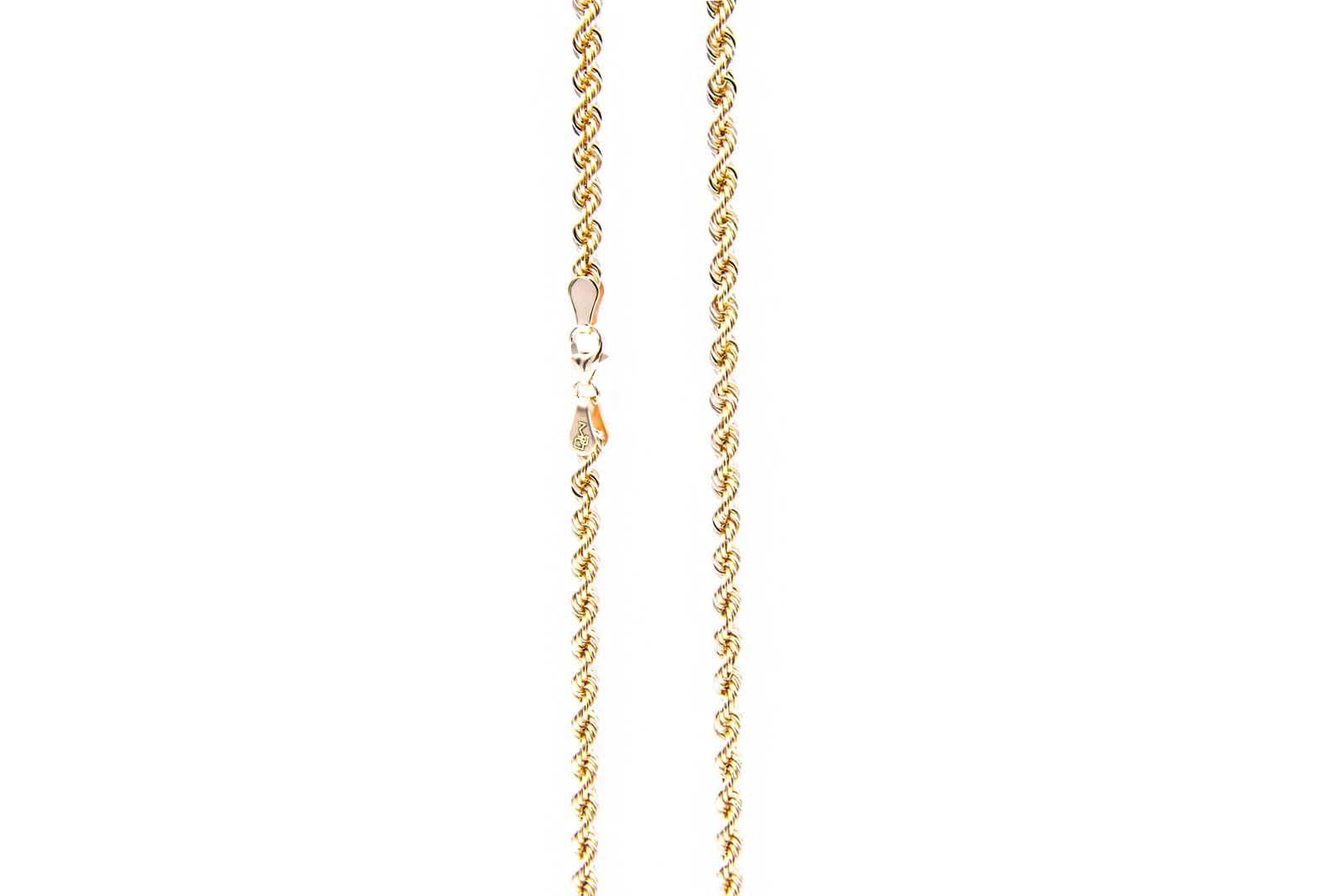 Rope chain roségoud 14kt 3mm-6