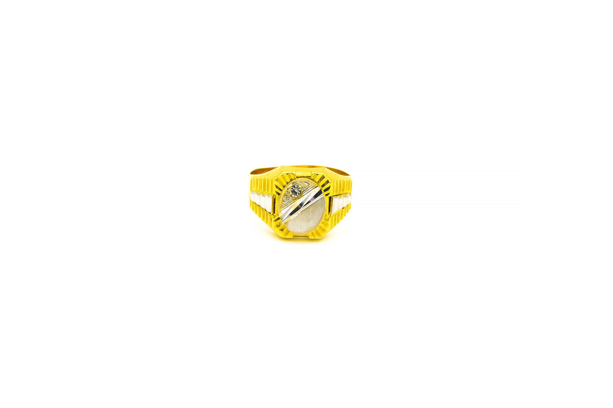 Ring ovale bewerkte zegel met zirkonia bicolor-1