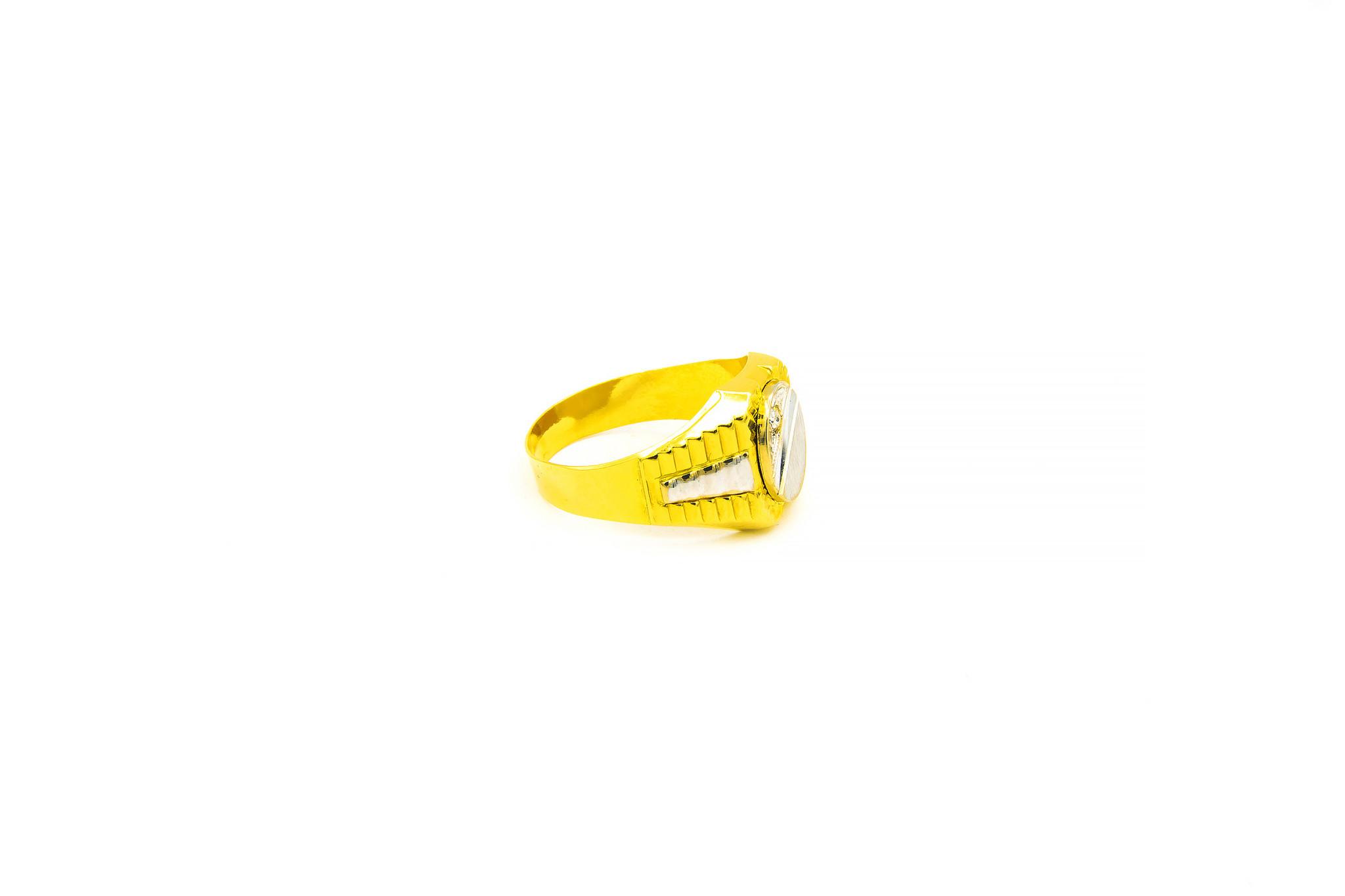 Ring ovale bewerkte zegel met zirkonia bicolor-2