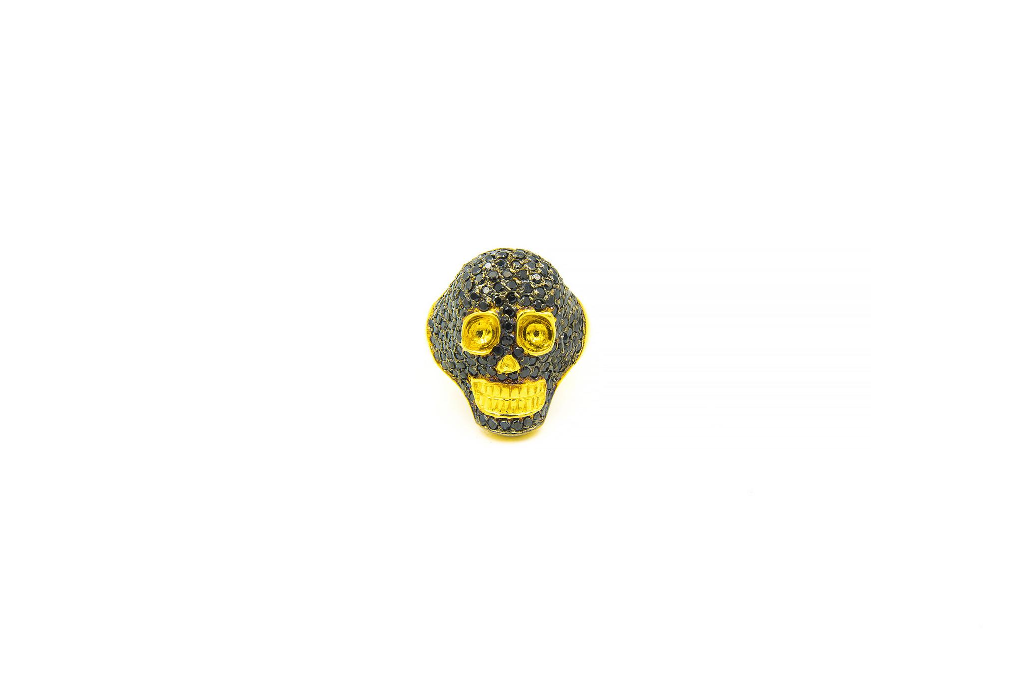 Ring skull ingelegd met zwarte zirkonia's-1