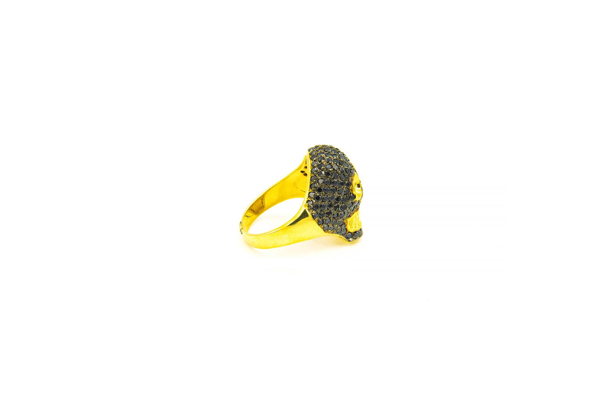 Ring skull ingelegd met zwarte zirkonia's-2