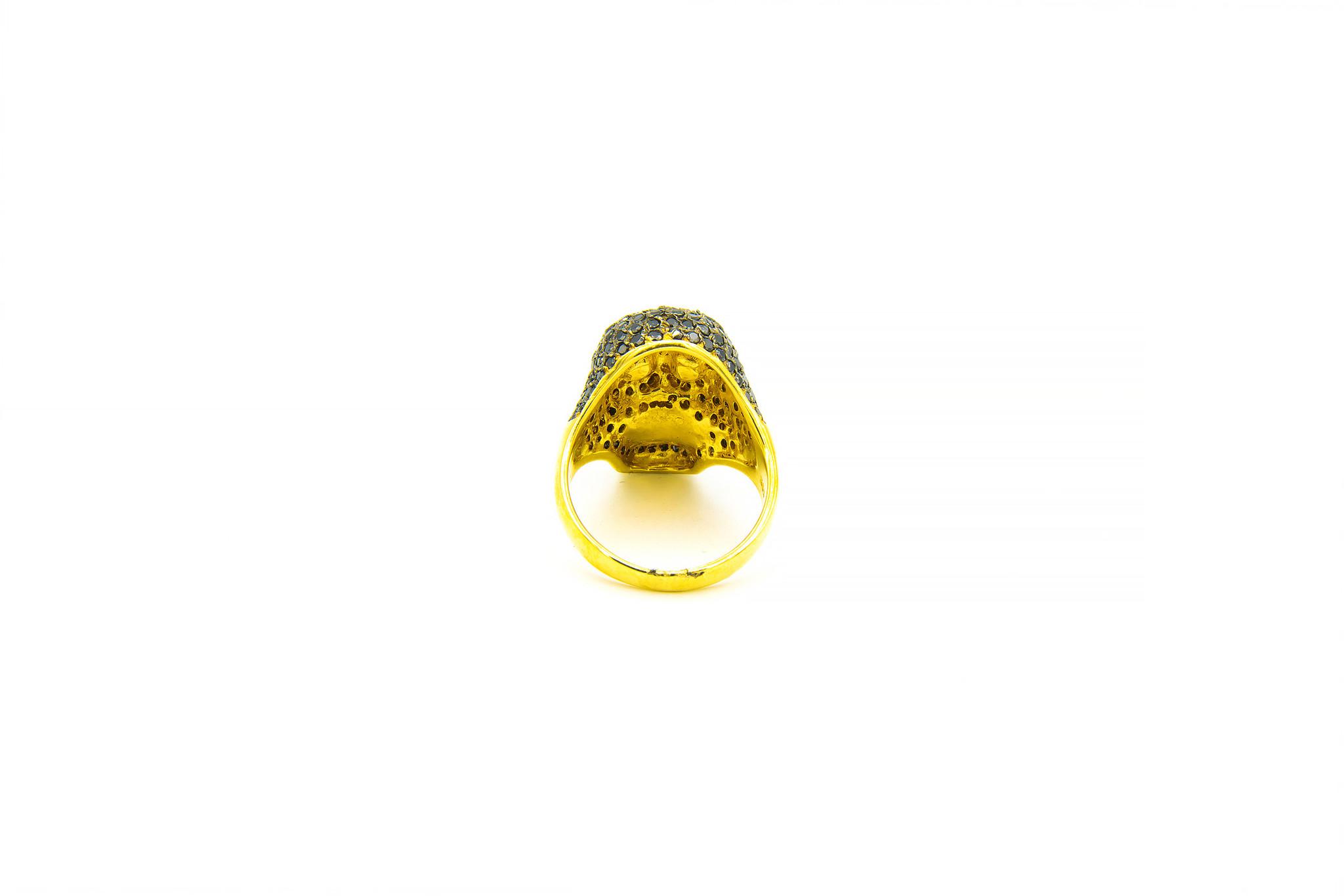 Ring skull ingelegd met zwarte zirkonia's-3