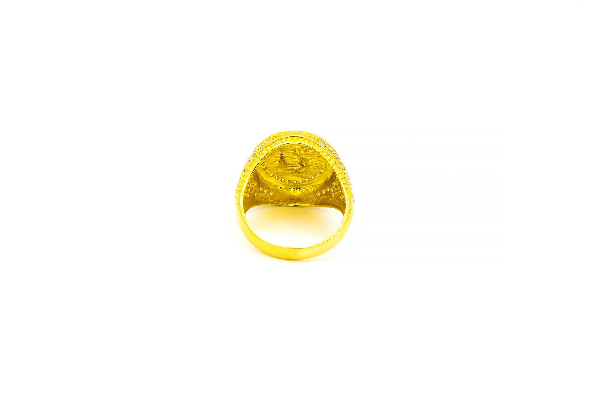 Ring grote ronde zegel met wapen Albanie ingelegd met zirkonia's bicolor-3