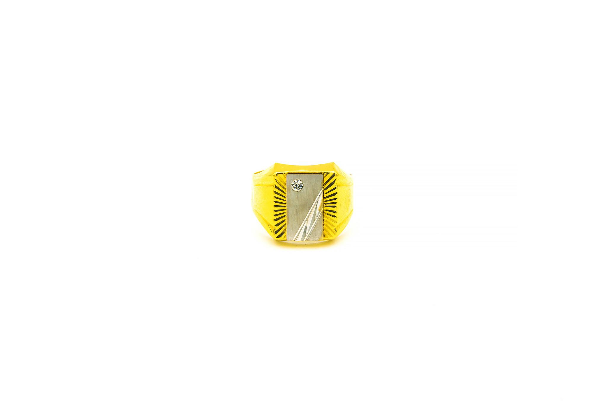 Ring bewerkte zegel met zirkonia bicolor-1