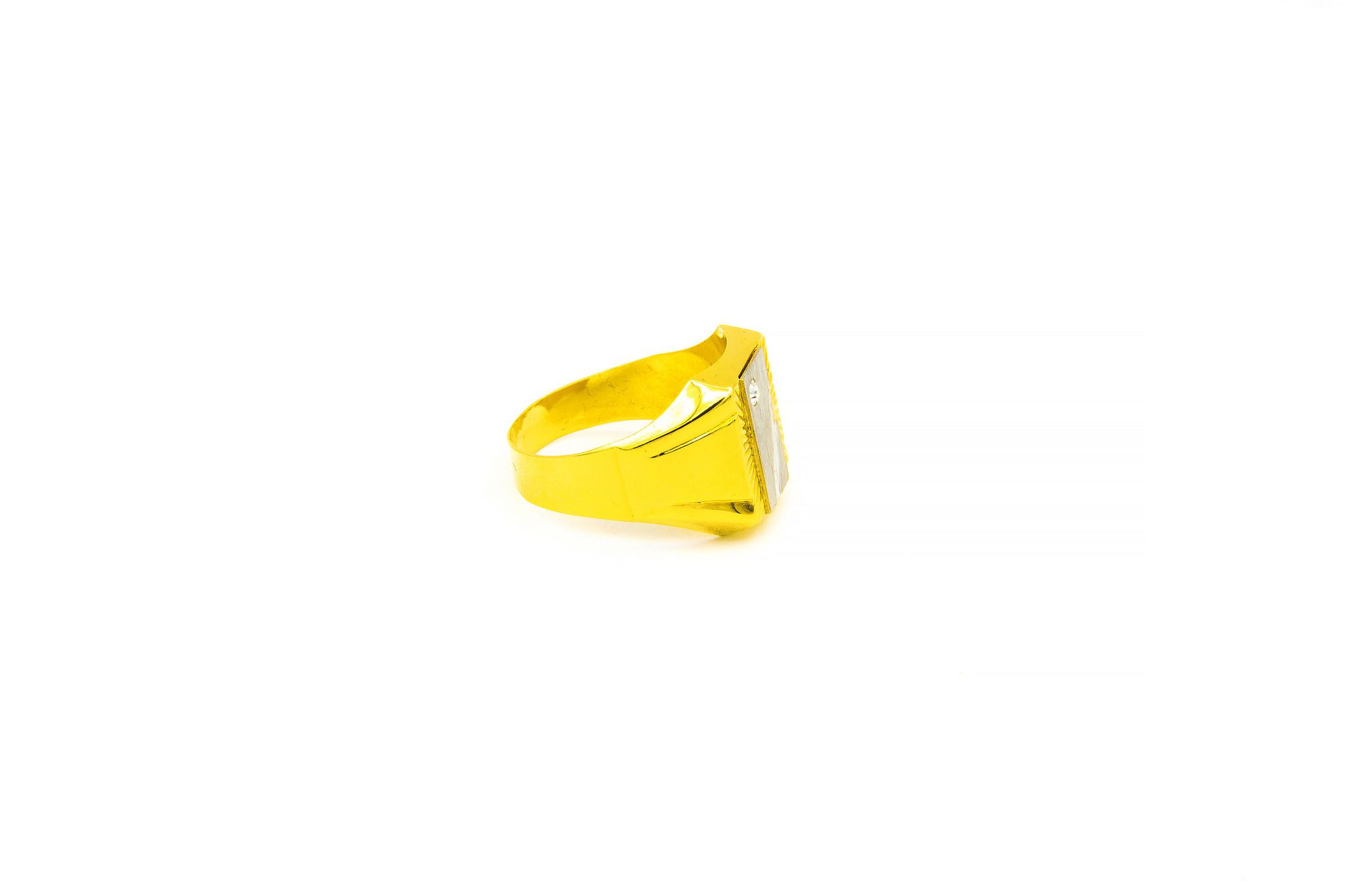 Ring bewerkte zegel met zirkonia bicolor-2