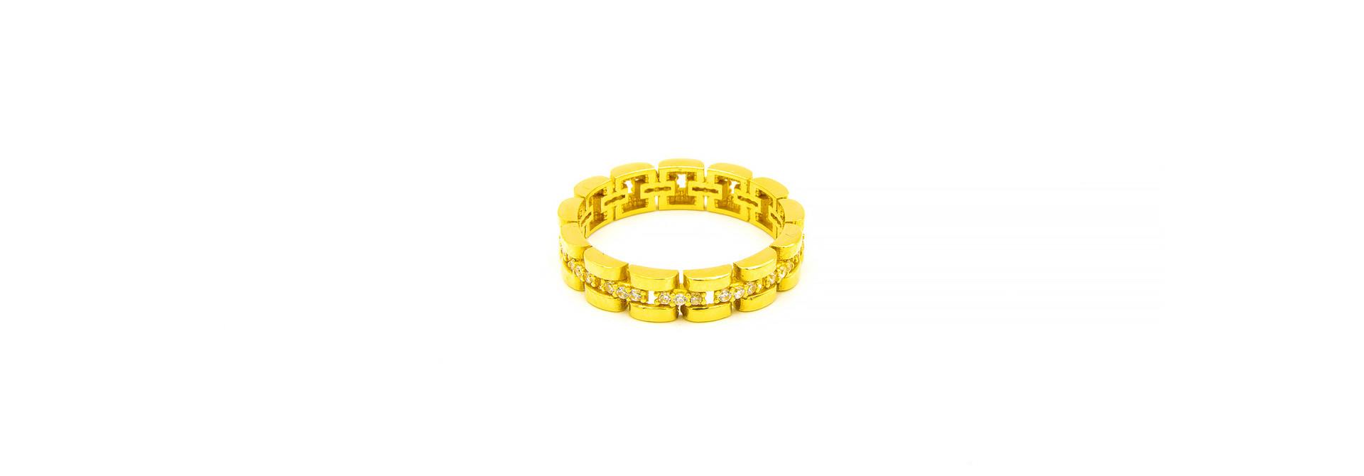 Ring rolexschakel met zirkonia's