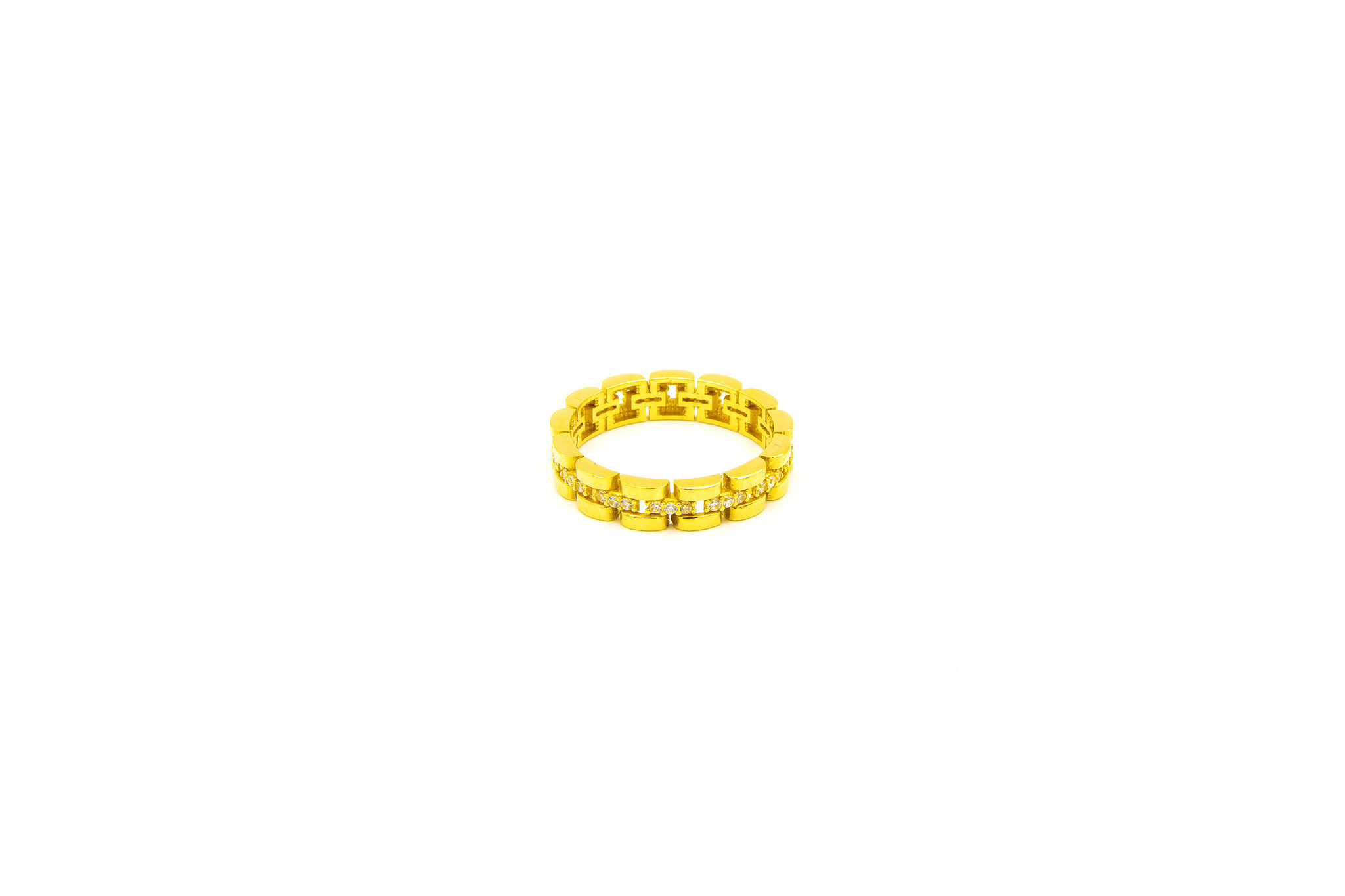 Ring rolexschakel met zirkonia's-1