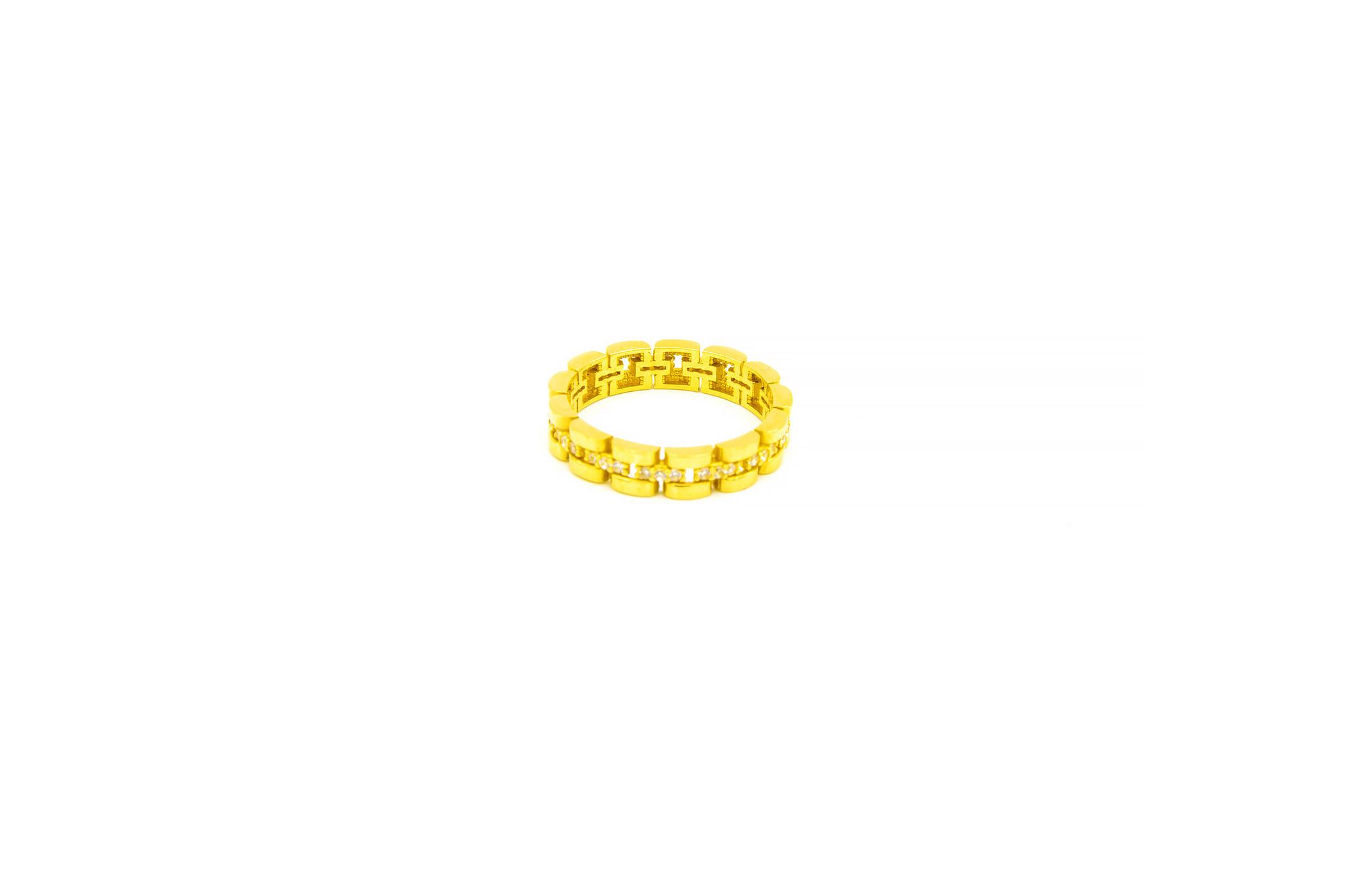 Ring rolexschakel met zirkonia's-3