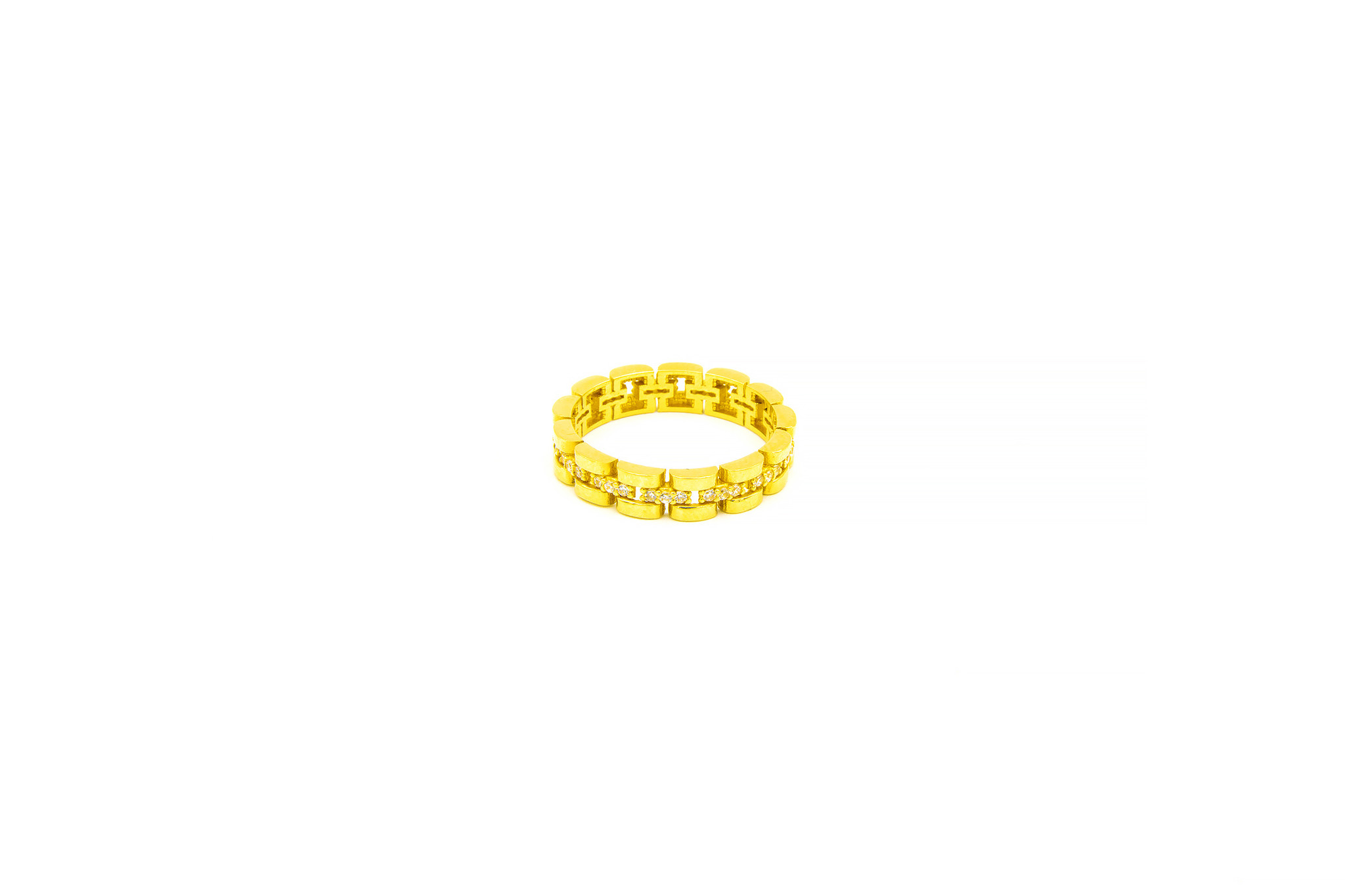 Ring rolexschakel met zirkonia's-4