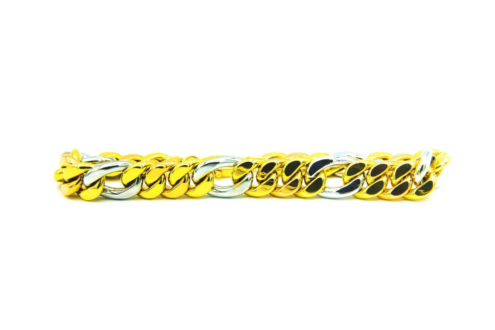 Armband combi Figaro / Cuban Link tricolor-2