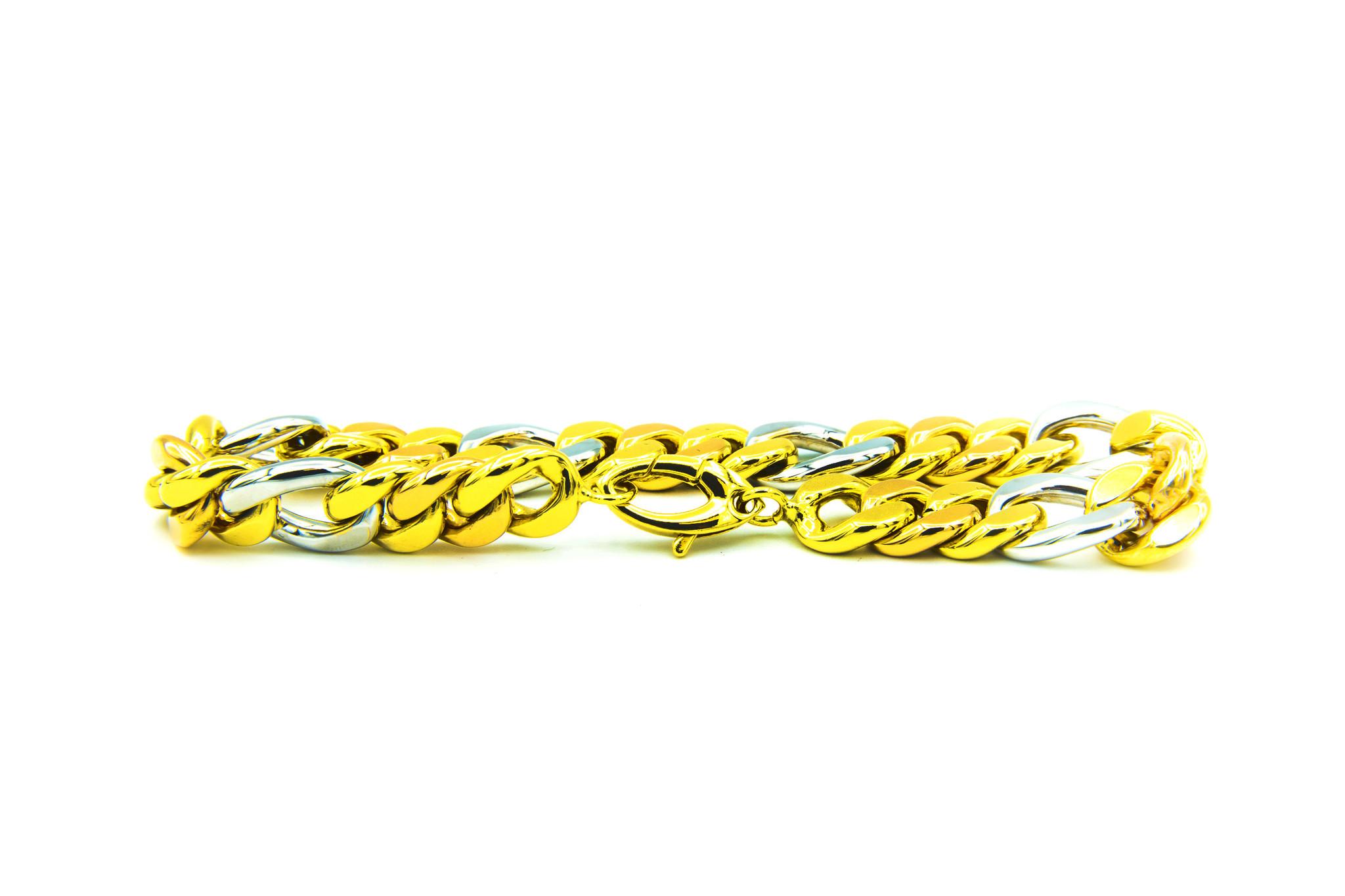 Armband combi Figaro / Cuban Link tricolor-1