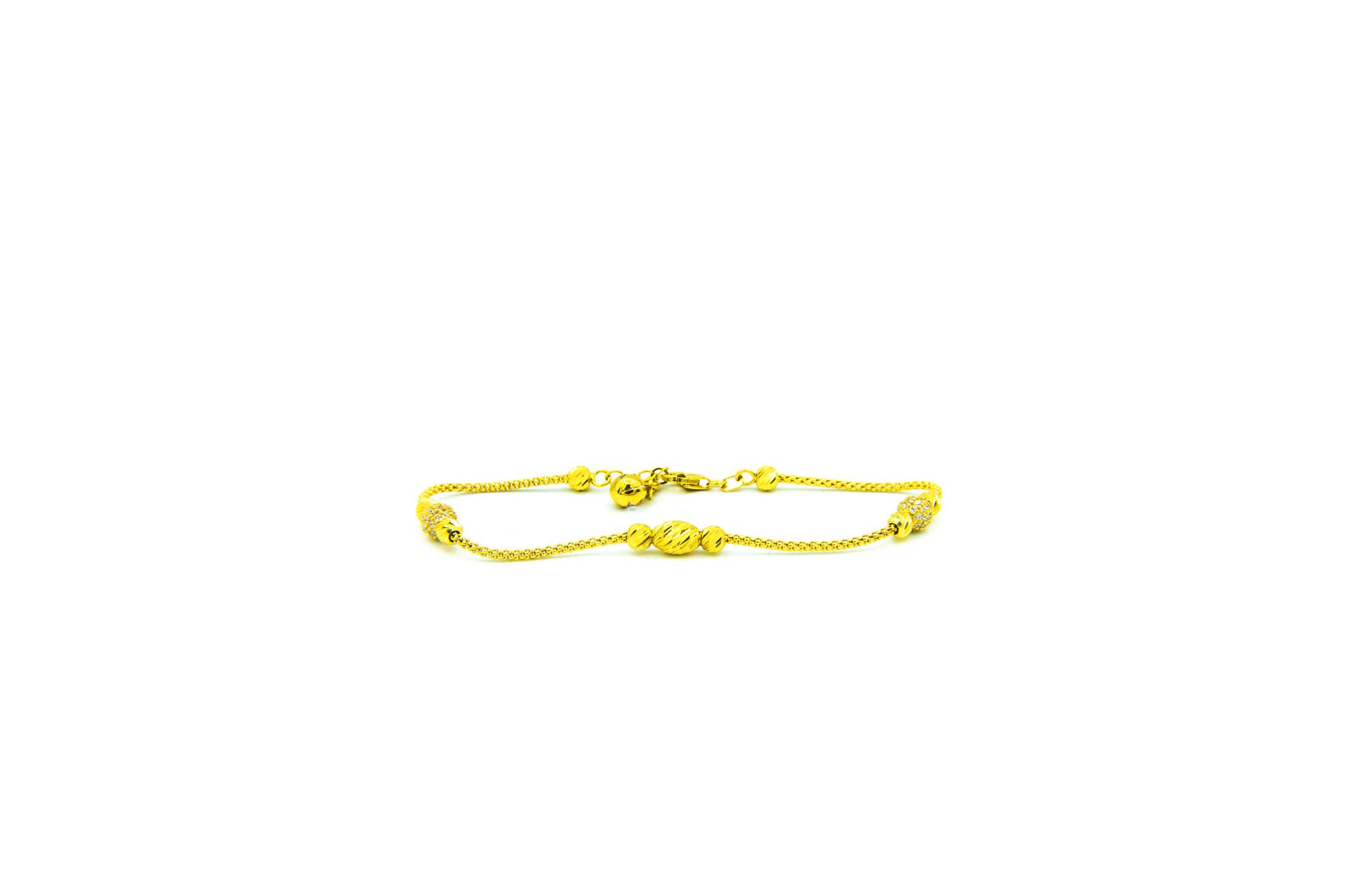 Armband diamond cut balletjes en balletjes bezet met zirkonia's-2