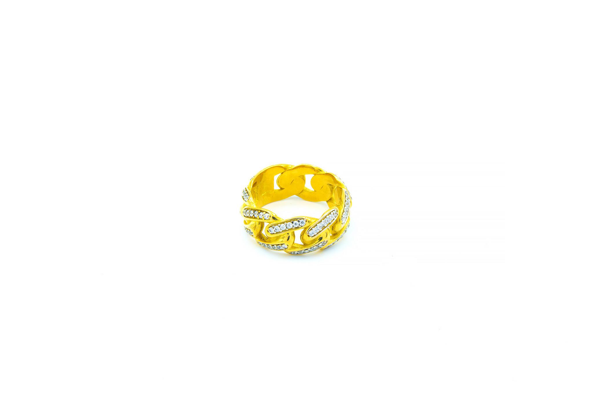 Ring met Cuban Link schakel met zirkonia's-1