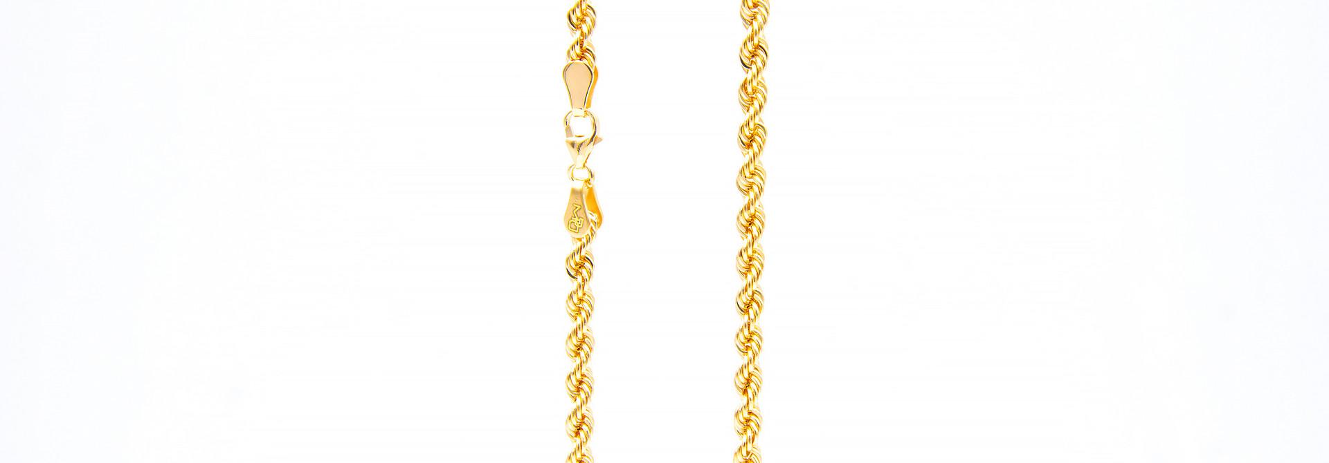 Rope chain roségoud 14kt 3mm