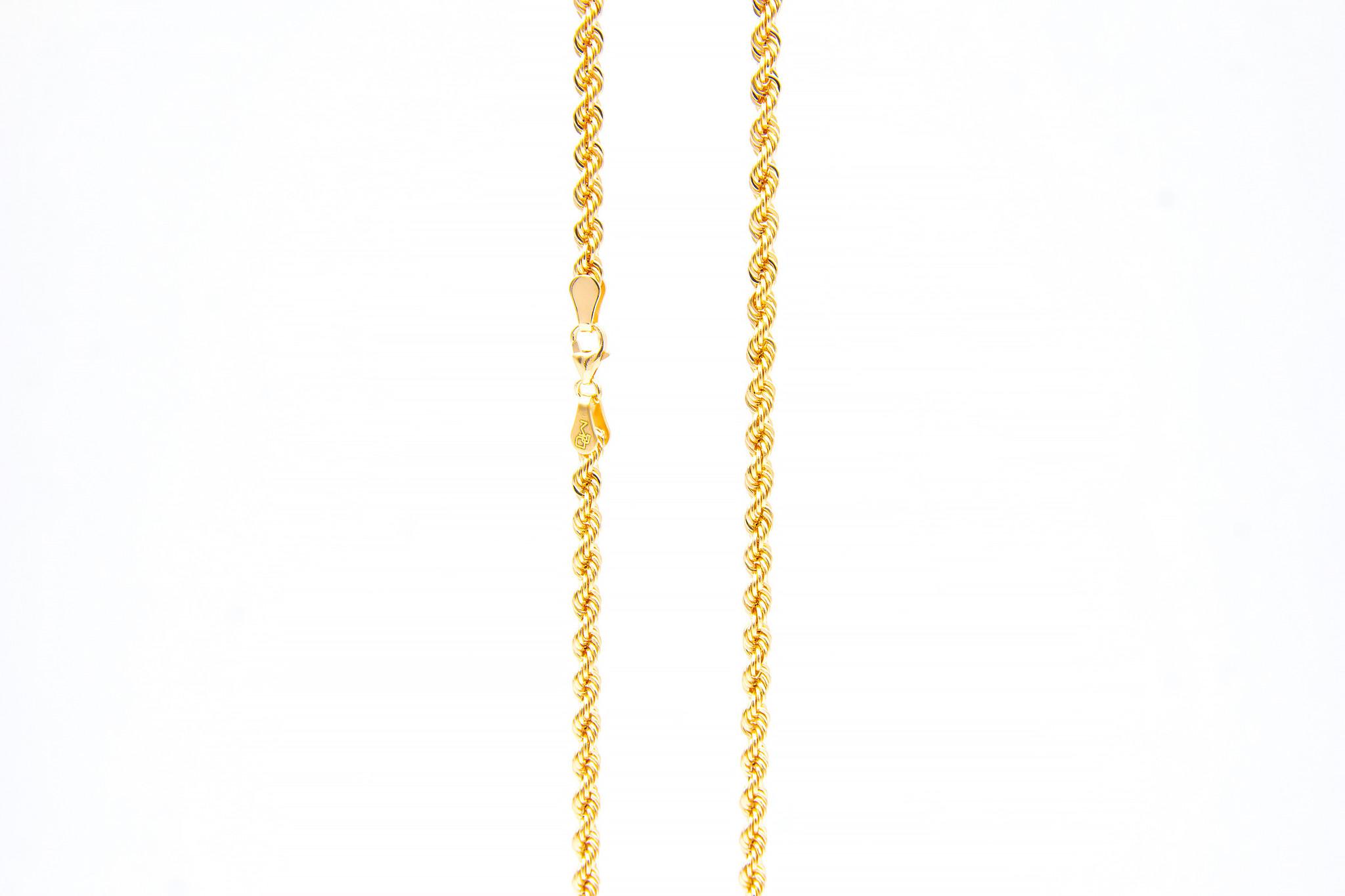Rope chain roségoud 14kt 3mm-1