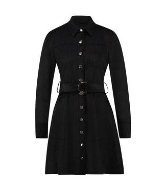 DAULIN - Zwarte faux suède jurk