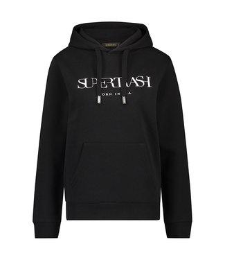 Supertrash TOODY - Zwarte Hoodie met wit logo