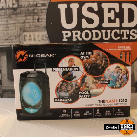 N-Gear Flash 1210 Partyspeaker The Flash   2 draadloze microfoons   Nieuw in doos