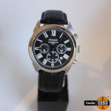 Pulsar horloge chronograph 50m | Zwarte leren band