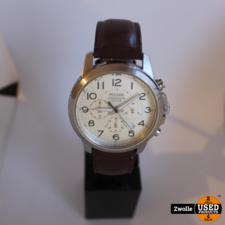 Pulsar horloge chronograph 100m | bruine leren band
