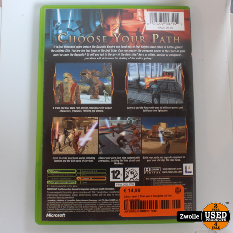 Xbox spel   Star wars Knights of the old republic